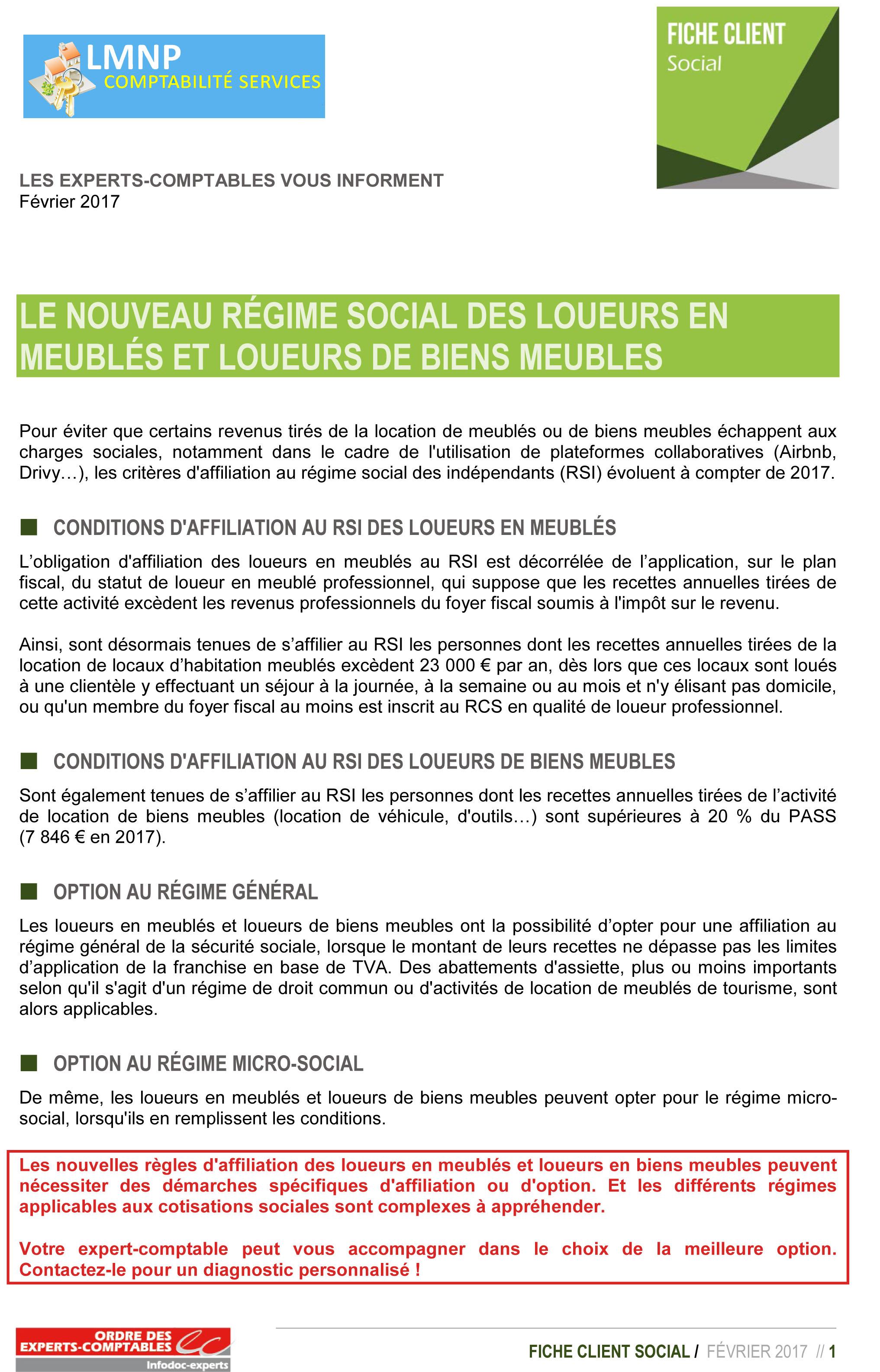 Fiche information le nouveau statut social des lmnp - Loueur meuble non professionnel fiscalite ...